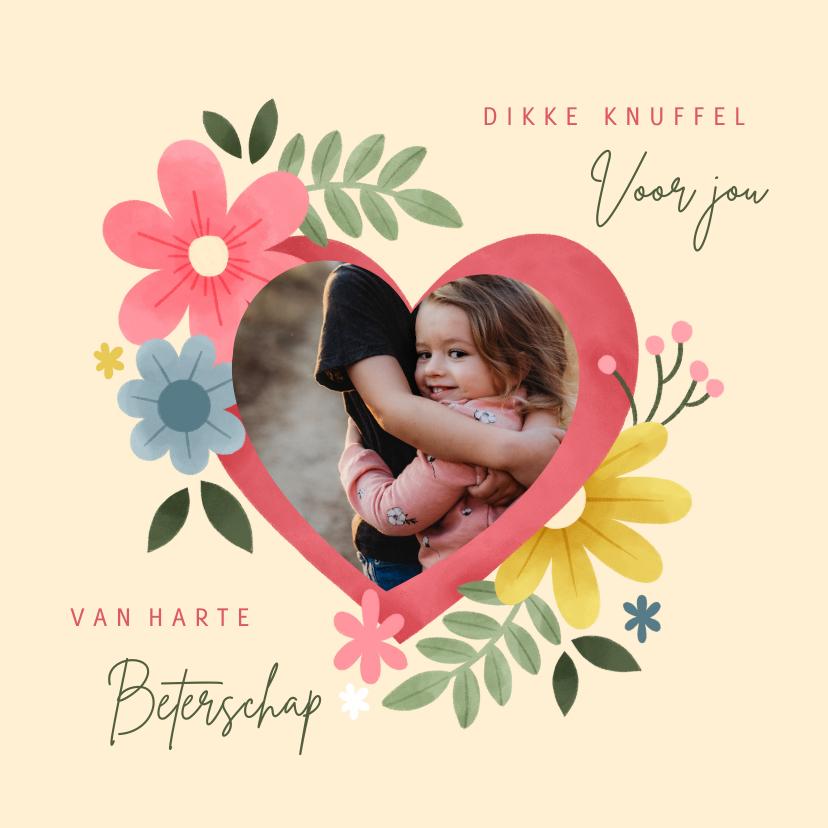 Fotokaarten - Fotokaart knuffel met hart, bloemen en foto