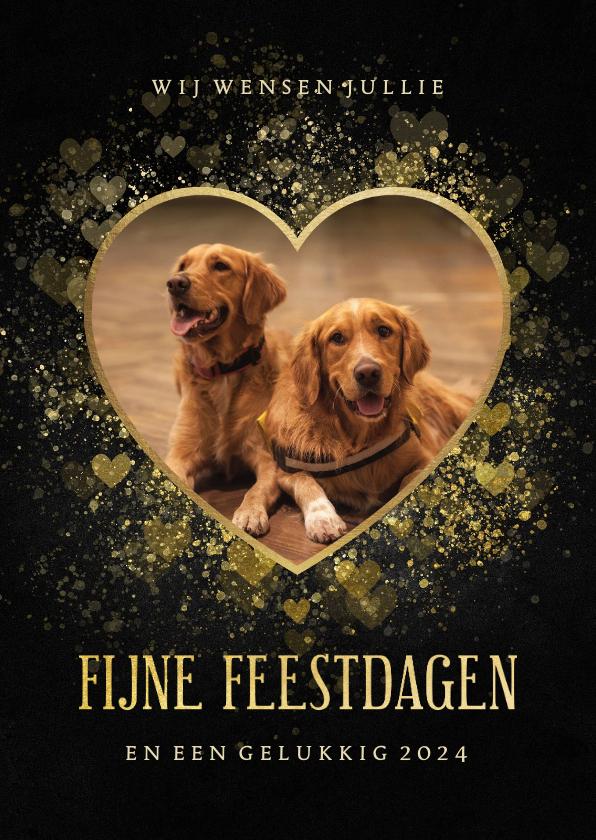 Fotokaarten - Fotokaart liefdevol in gouden hartvorm