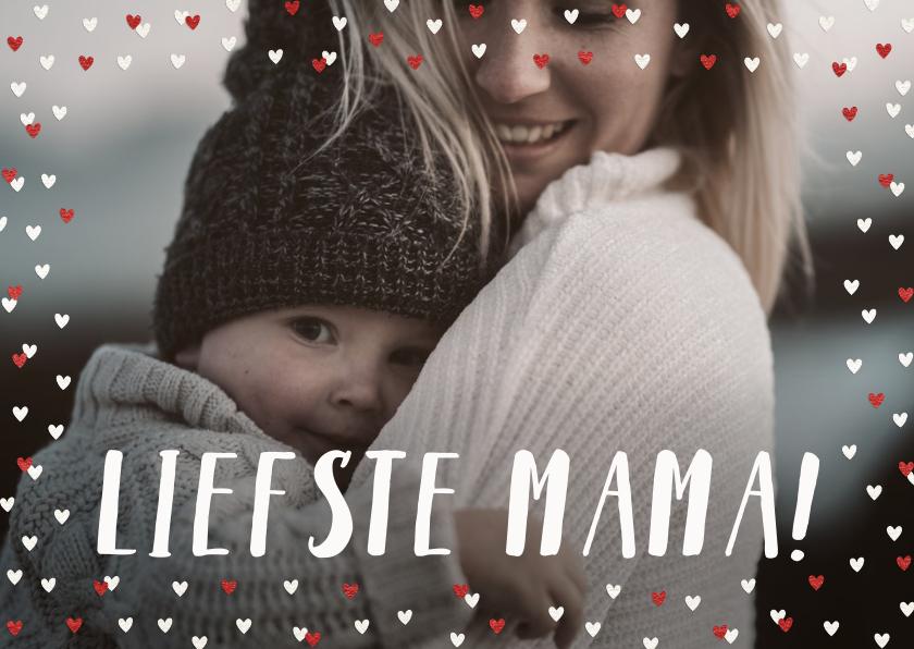Fotokaarten - Fotokaart liefste mama liggend grote foto met hartjeskader