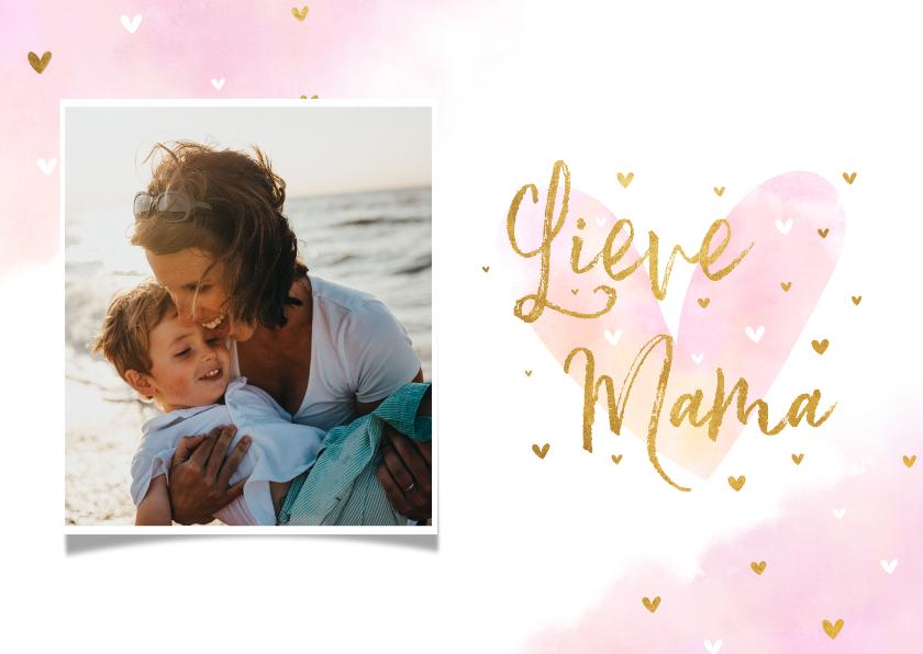 Fotokaarten - Fotokaart 'Lieve Mama' met hartjes goudlook