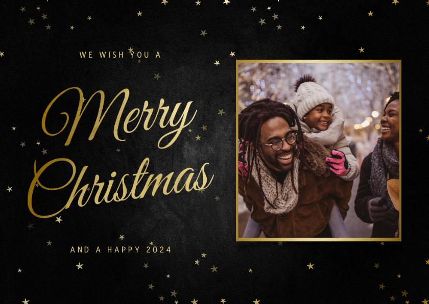 Fotokaarten - Fotokaart liggend merry christmas met sterren