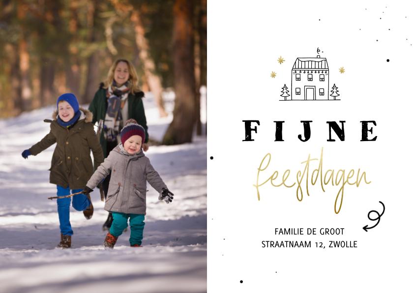 Fotokaarten - Fotokaart lijntekening huisje fijne feestdagen