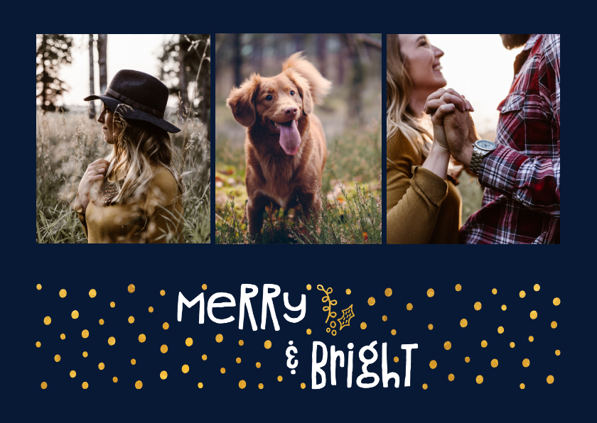 Fotokaarten - Fotokaart 'merry & bright' goudlook met foto's