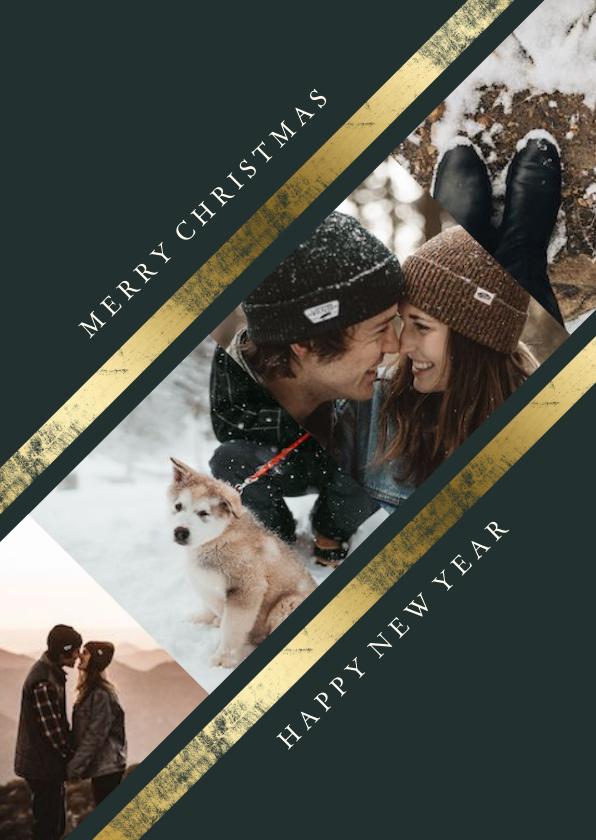 Fotokaarten - Fotokaart met collage schuin met gouden rand