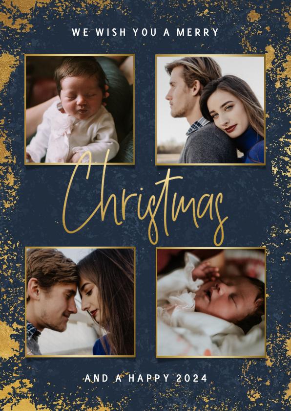 Fotokaarten - Fotokaart met foto's, gouden kader en Christmas