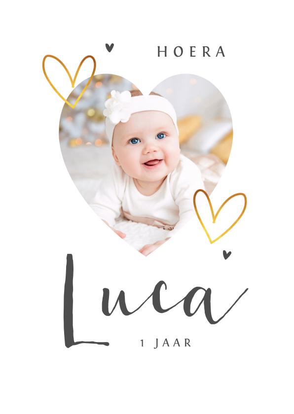 Fotokaarten - Fotokaart met goud hartjes eenvoudig en stijlvol