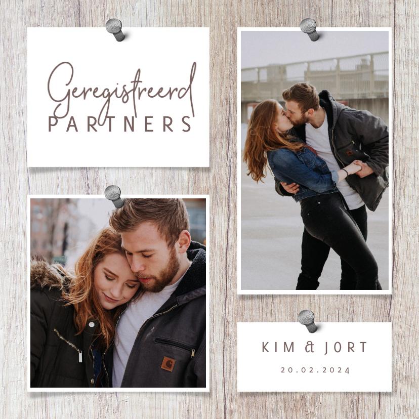 Fotokaarten - Fotokaart met hout, 2 foto's en spijkers