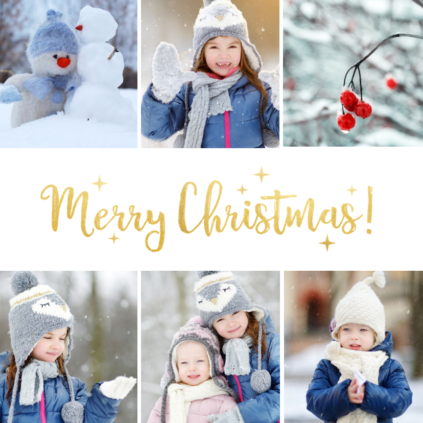 Fotokaarten - Fotokaart met kerstcollage met 6 foto's en goud