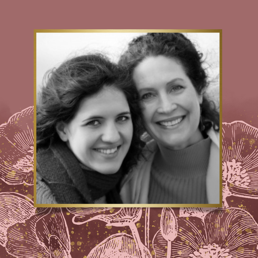 Fotokaarten - Fotokaart met roze bloemen, waterverf & gouden spetters