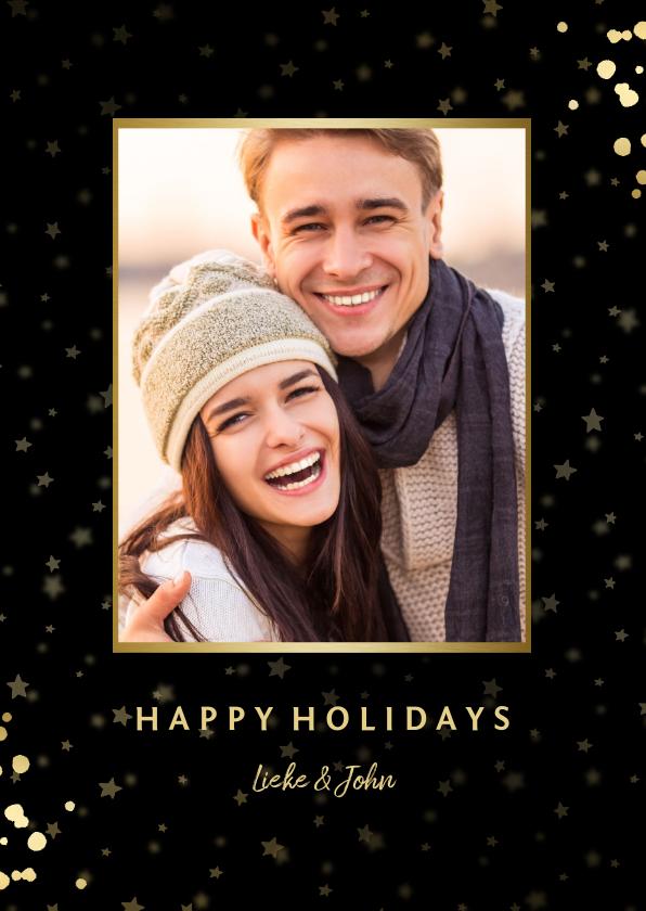 Fotokaarten - Fotokaart met sterren, foto en gouden confetti