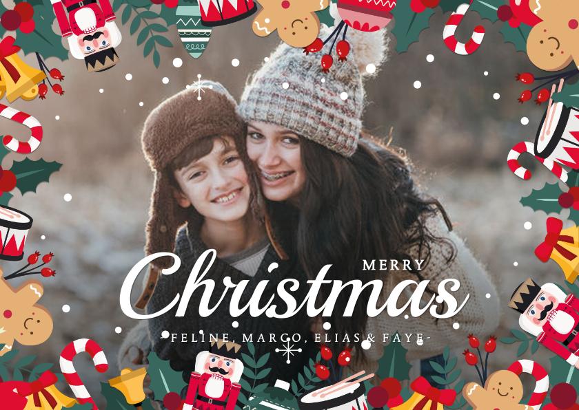 Fotokaarten - Fotokaart met vrolijke kerstelementjes rondom de kaart