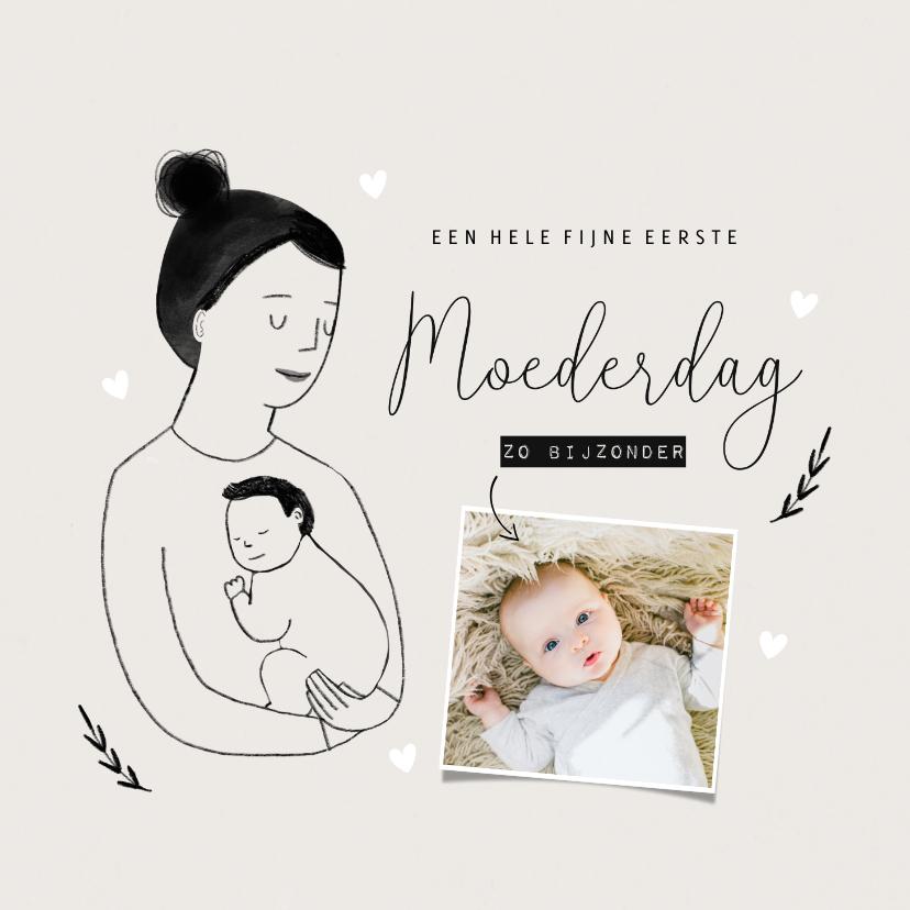 Fotokaarten - Fotokaart moederdag met portretje en hartjes minimalistisch