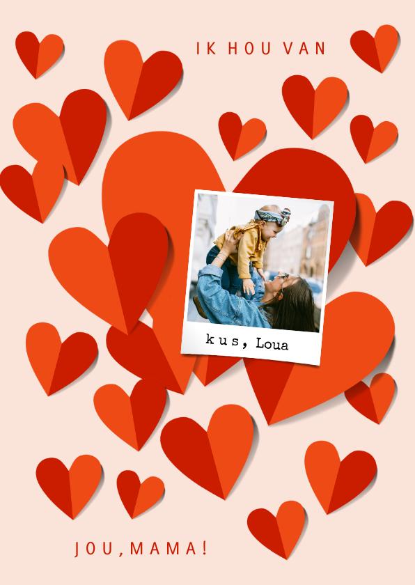Fotokaarten - Fotokaart moederdag met rode harten op roze achtergrond