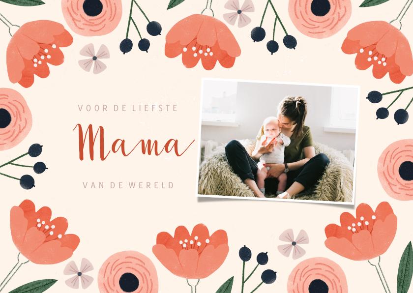 Fotokaarten - Fotokaart moederdag met roze bloemen en liefste mama