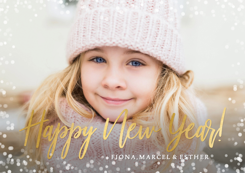 Fotokaarten - Fotokaart nieuwjaar enkele kaart met eigen foto & confetti