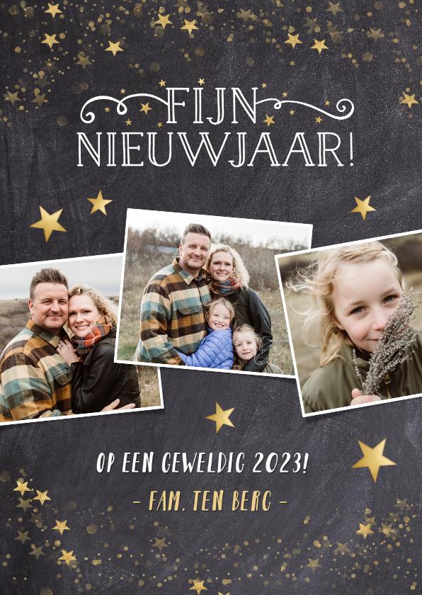 Fotokaarten - fotokaart nieuwjaar met krijtbord en gouden sterren