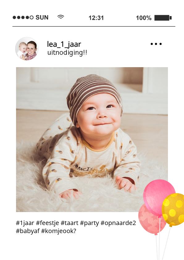 Fotokaarten - Fotokaart social media uitnodiging kinderfeestje