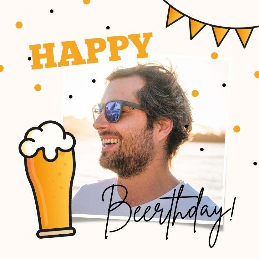Fotokaarten - Fotokaart verjaardag bier man happy beerthday confetti foto