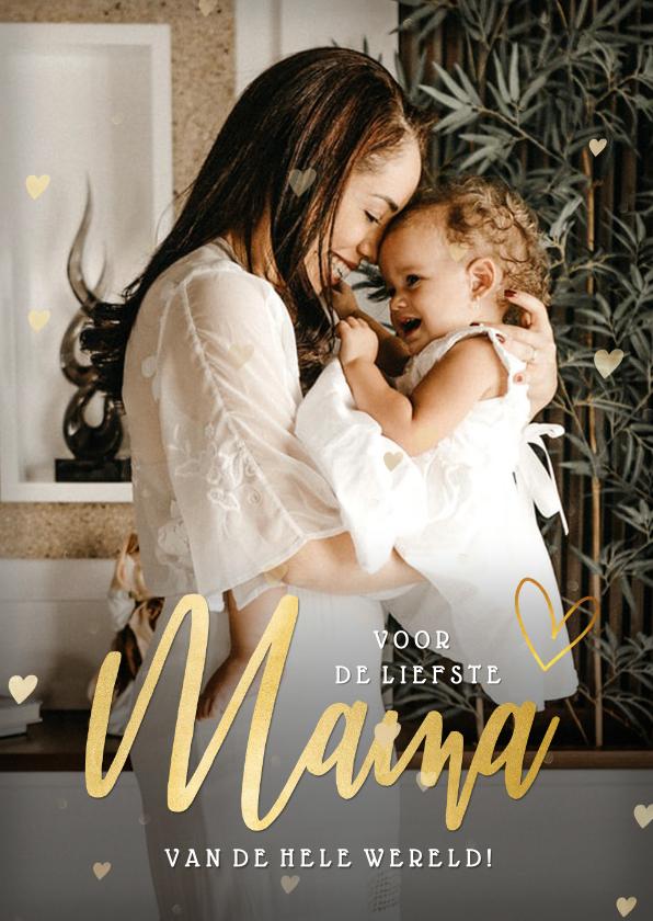 Fotokaarten - Fotokaart voor moederdag met grote foto en gouden hartjes