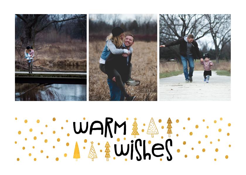Fotokaarten - Fotokaart 'warm wishes' goudlook met foto's