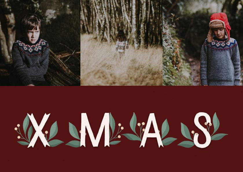 Fotokaarten - Fotokaart 'Xmas' met takjes en foto's