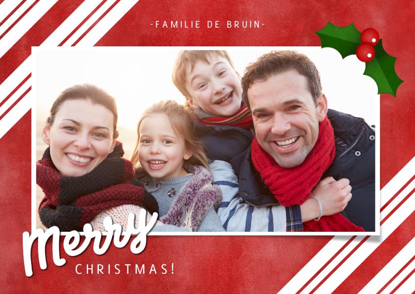 Fotokaarten - Fotokaart zuurstok strepen, grote foto en Merry Christmas!