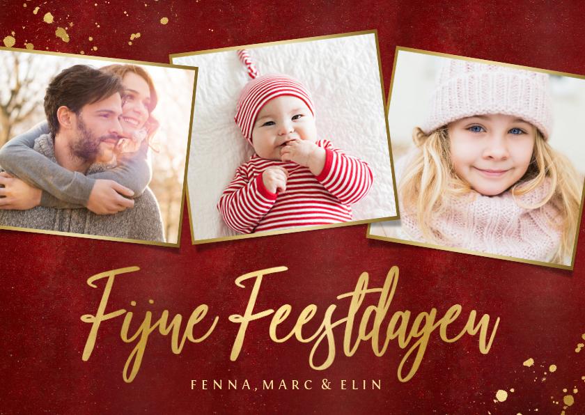 Fotokaarten - Fotokaarten fotocollage kerstkaart met gouden tekst