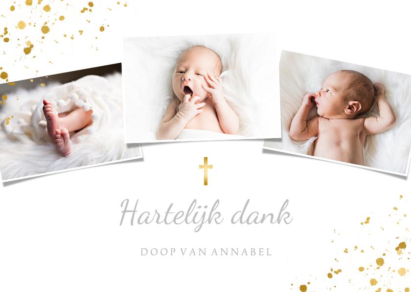 Fotokaarten - Fotokaartje doopsel fotocollage goudspetters