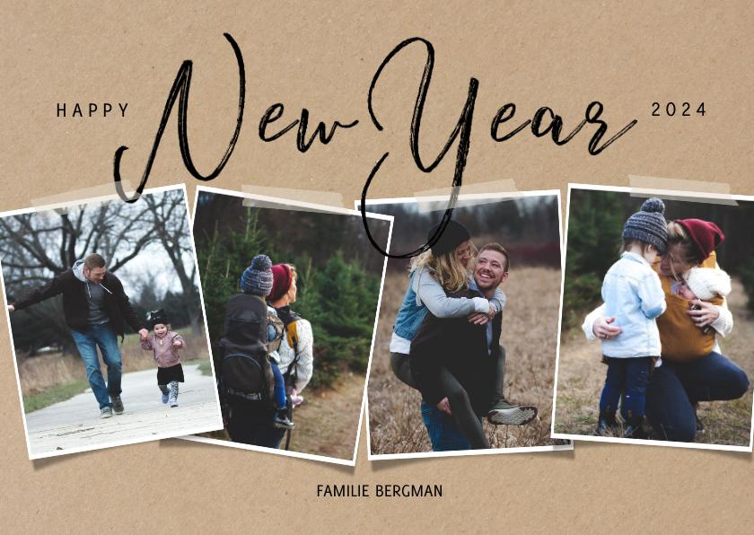 Fotokaarten - Hippe fotocollage kaart met happy new year