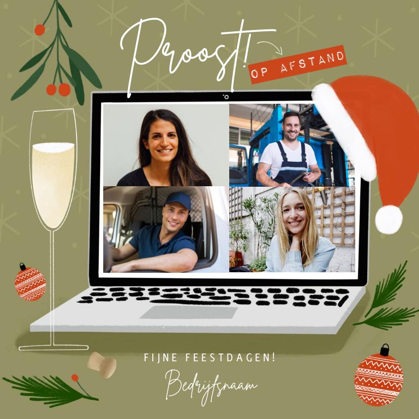 Fotokaarten - Hippe fotocollage kaart proost op afstand laptop kerstsfeer