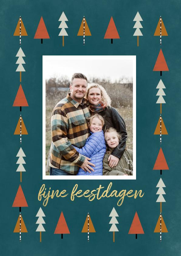 Fotokaarten - Hippe fotokaart met kerstbomen illustratie