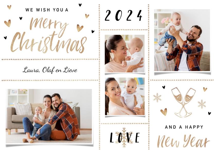 Fotokaarten - Hippe goudlook kerstkaart met hartjes en goudaccenten