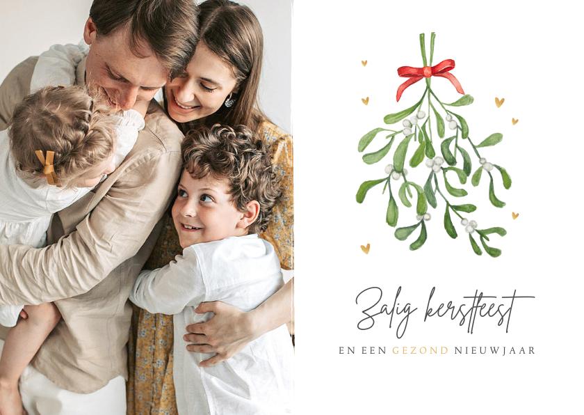 Fotokaarten - Kerstkaart christelijk zalig kerstfeest maretak mistletoe