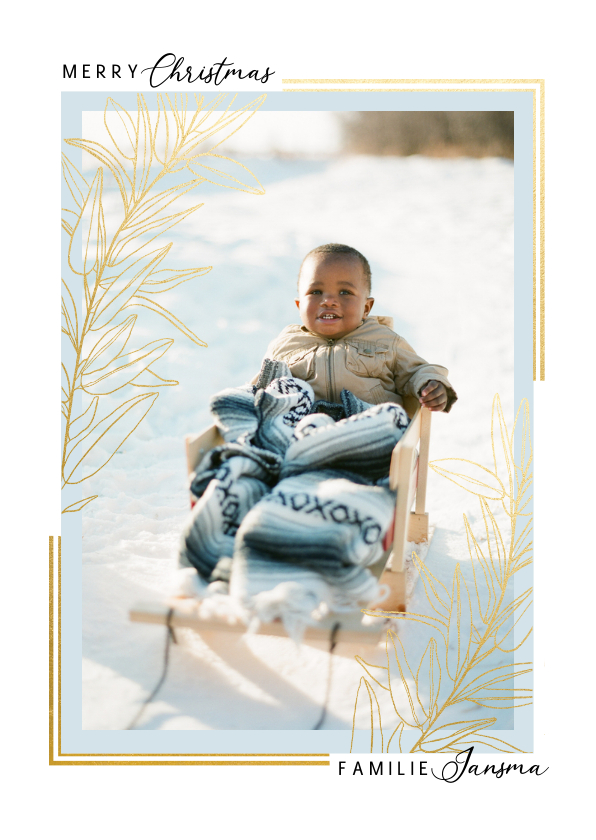 Fotokaarten - Klassieke fotokaart kerst met grote foto kader en gouden tak