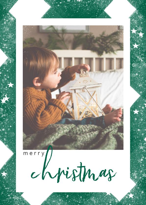Fotokaarten - Klassieke fotokaart met ruitenpatroon, sneeuw en christmas