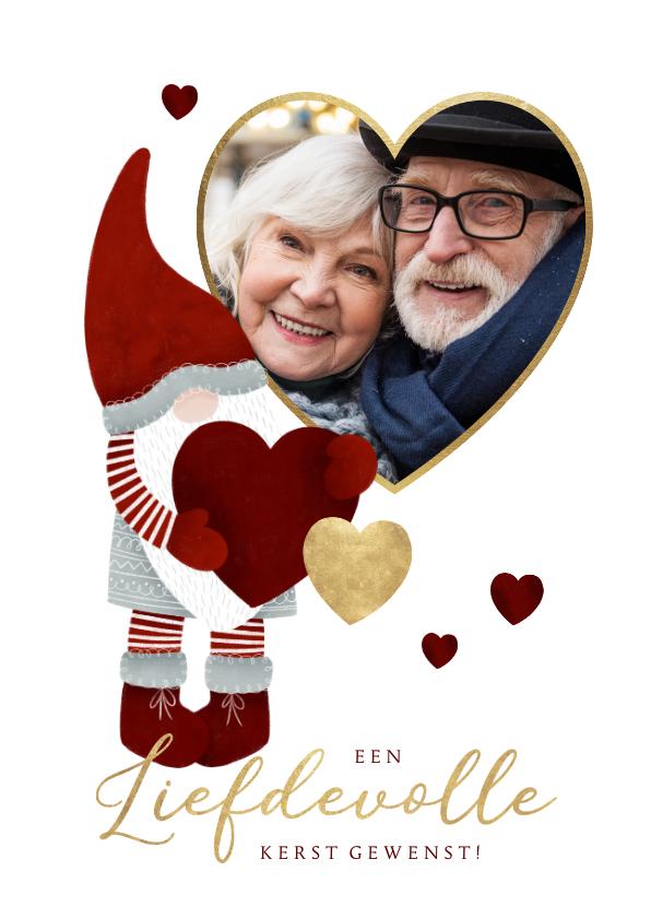 Fotokaarten - Liefdevolle kerst fotokaart met kerstman kabouter en hartjes