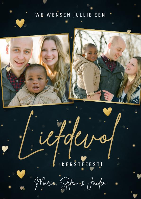 Fotokaarten - Liefdevolle kerst fotokaart twee foto's en hartjes