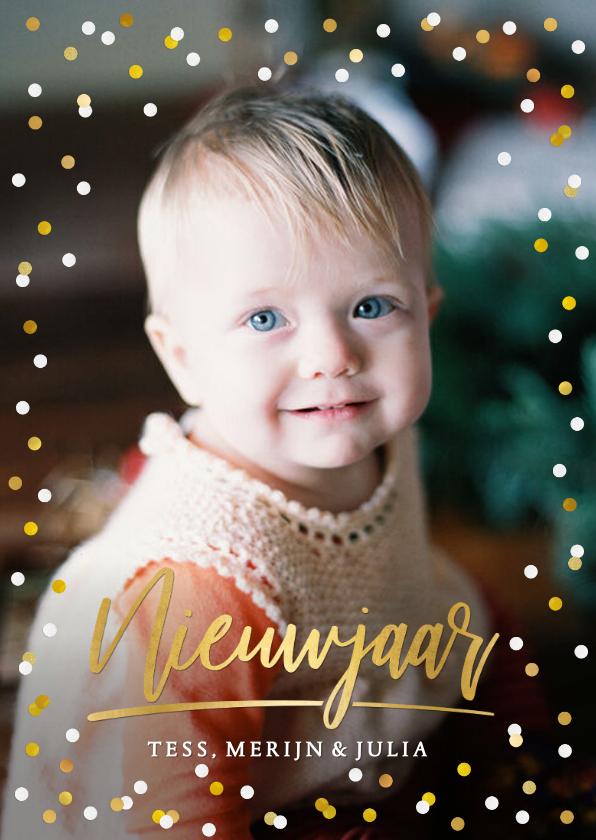 Fotokaarten - Moderne nieuwjaarskaart met goud en witte confetti en foto