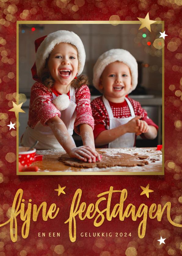 Fotokaarten - Rode fotokaart staand met eigen foto en gouden sterren