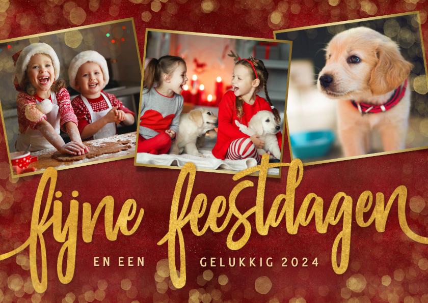 Fotokaarten - Sfeervolle rode kerst fotokaart met 3 foto's en gouden tekst