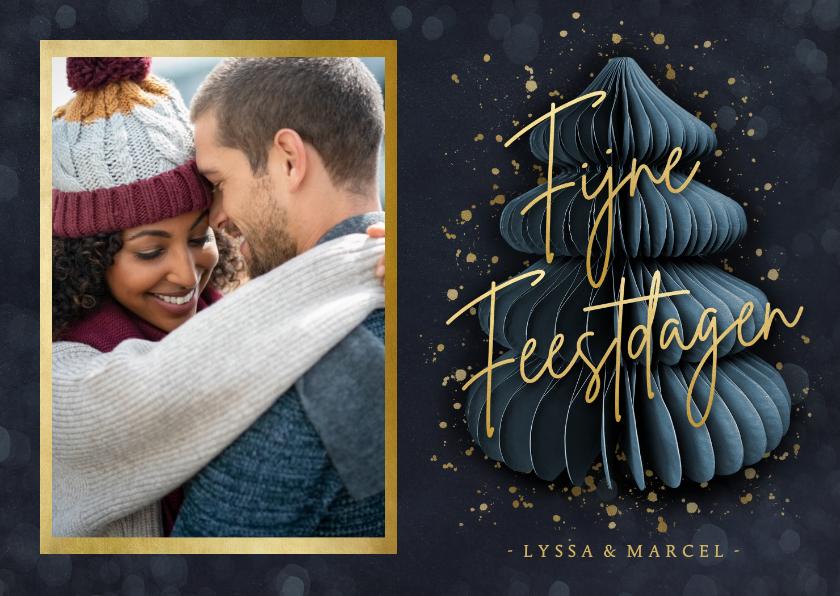 Fotokaarten - Stijlvolle fotokaart kerstmis met kerstboom, foto en goud