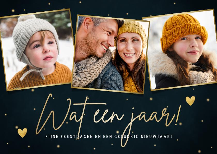 Fotokaarten - Stijlvolle kerst fotokaart 'Wat een jaar!' sterren & hartjes