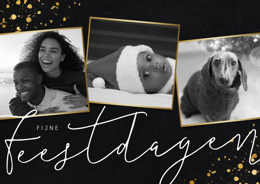 Fotokaarten - Stijlvolle kerstkaart met zwart/wit fotocollage