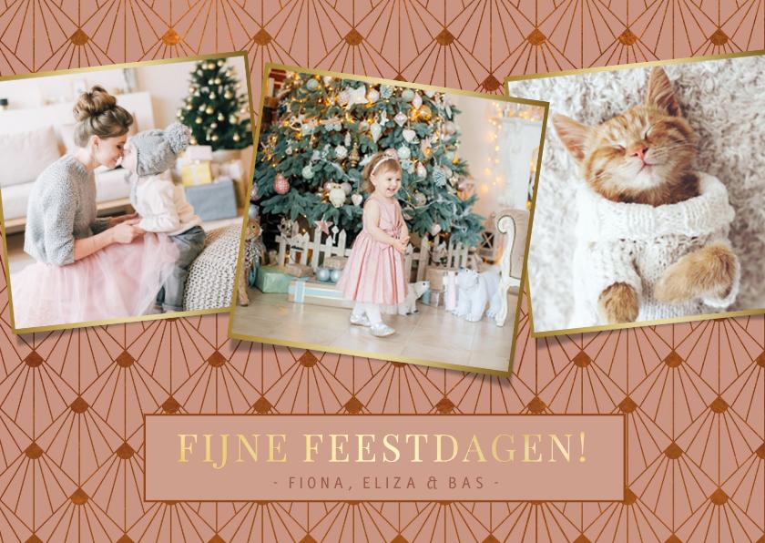 Fotokaarten - Stijlvolle oudroze art-deco kerstkaart met 3 eigen foto's