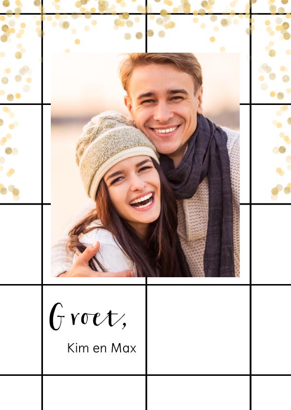 Fotokaarten - Trendy fotokaart met groet, raster en gouden confetti