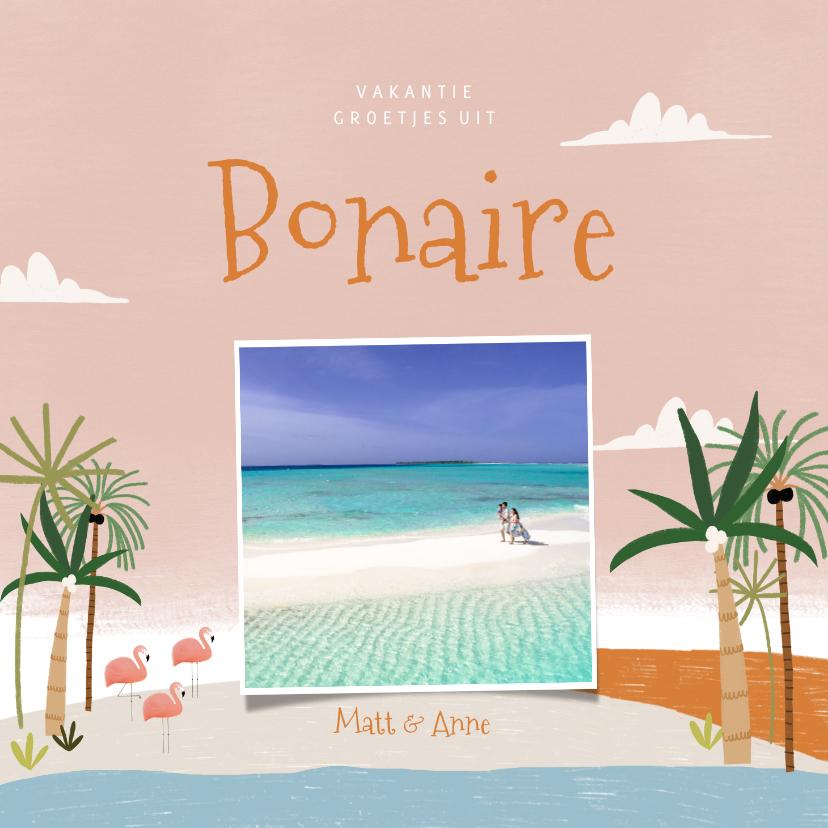 Fotokaarten - Tropische fotokaart vakantie Bonaire palmbomen en flamingo's