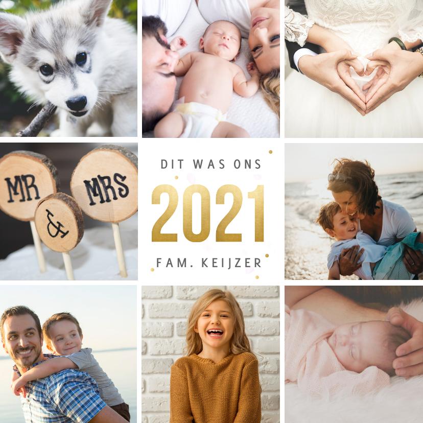 Fotokaarten - Vierkante fotocollage terugblik 2021 kerstkaart met 8 foto's