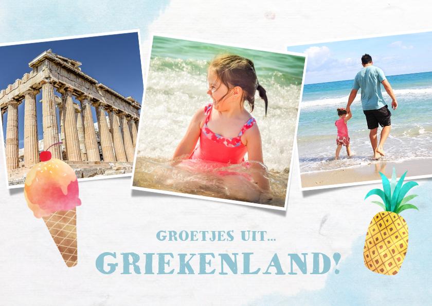 Fotokaarten - Vrolijke fotocollagekaart zomervakantie met 3 foto's en ijs