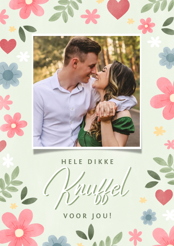 Fotokaarten - Vrolijke fotokaart 'dikke knuffel' bloemen en hartjes