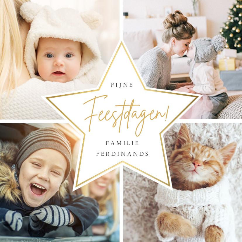 Fotokaarten - Vrolijke kerst fotokaart met 4 eigen foto's en goudlook ster